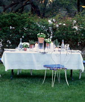 Outdoor dinning table and place setting