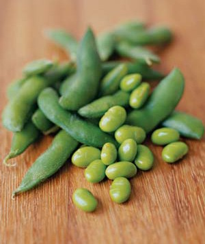 Soy beans and pods