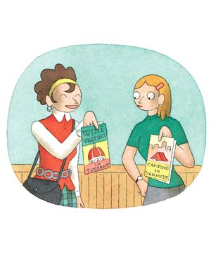 Illustration of two women holding up travel brochures