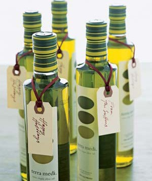 Wine bottles with holiday tags