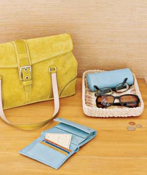Wallet, glasses and purse