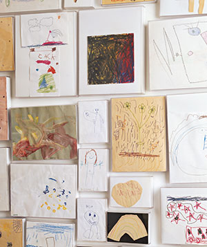 Wall displaying kids' art