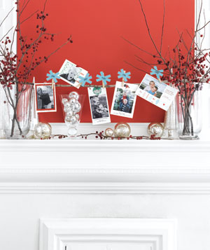 Holiday cards display on a mantel