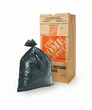Plastic garbage bag and large paper bag