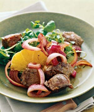 Seared Sirloin With Balsamic Red Onions, Watercress, and Oranges