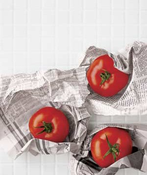 Tomatoes in newspaper
