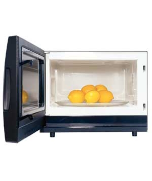 microwave with lemons