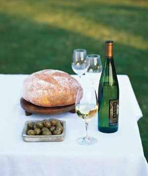 Bread, olives, and wine