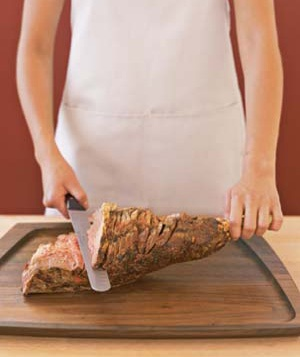A carved leg of lamb