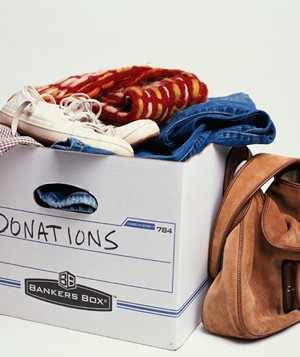 Donation box of clothing and personal items