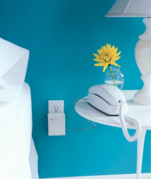 Phone, lamp and flowers on table next to bed