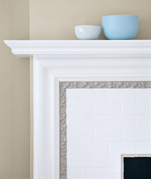 Repainted fireplace tile surround