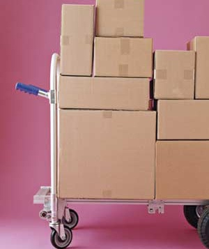 Boxes stacked on a handtruck