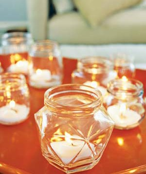 Tea lights in jelly jars