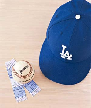 L.A. Dodgers cap and baseball