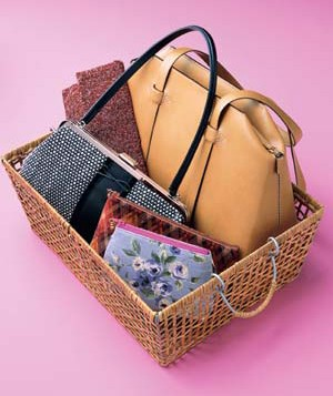 basket of handbags