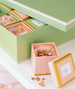 boxes of rings and earrings