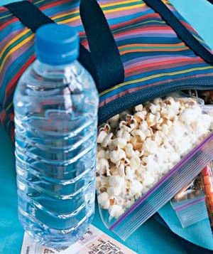 Bottle of water and popcorn