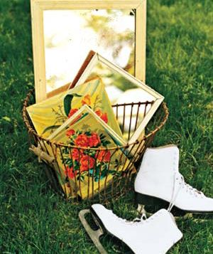 Ice skates and a basket of mirrors