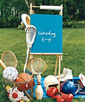 Easel and sports equipment
