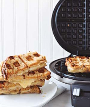 Grilled cheese sandwich on a waffle iron