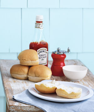 Hamburger buns and ketchup