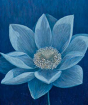 painting of blue flower
