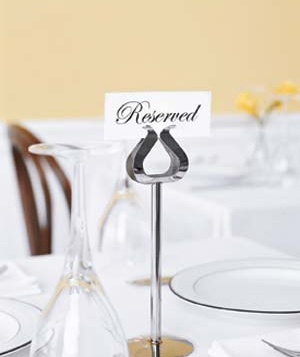 Reserved sign on a dining table