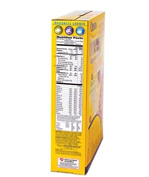 Nutritional label on cereal box