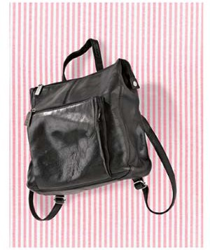 Black purse on pink striped background