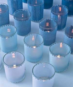 Votives with decorative blue paper