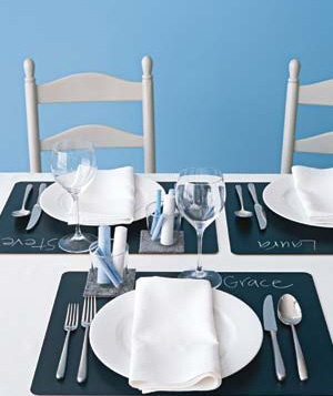 Place settings with chalkboard placemats