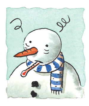 Illustration of a sick snowman