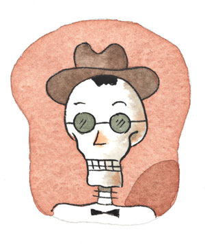 A skeleton with a hat