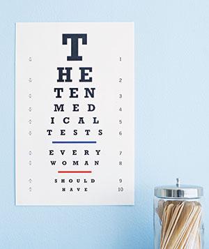 An eye chart in a medical exam room