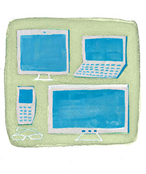 illustration of a computer, cell phone, monitor, and television