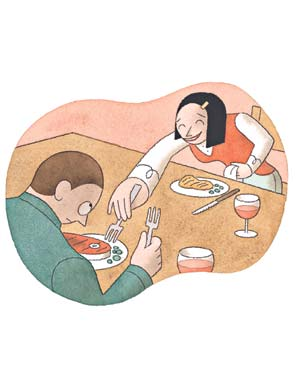Couple sharing food at a restaurant