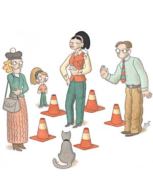 Woman surrounded by traffic cones