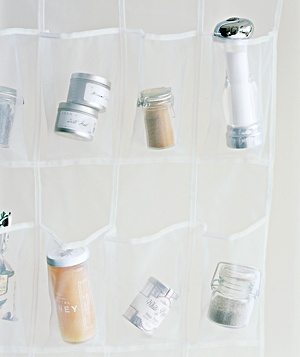 Shoe organizer holding supplies