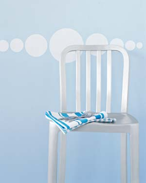 Chair against blue wall