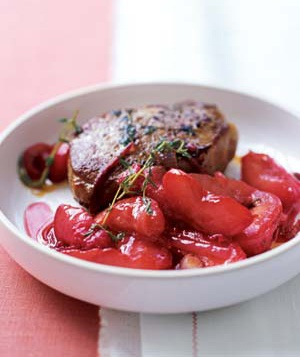 Pork Chops With Warm Plum Sauce