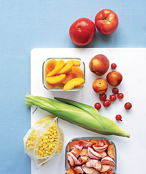 Summer produce on cutting board