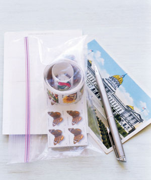 Stamps in a zipper-seal bag