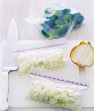Chopped onions in zipper-seal bags