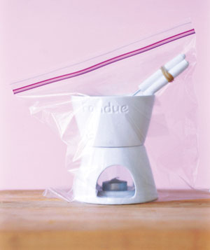 Fondue pot in a zipper-seal bag