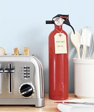 Toaster and fire extinguisher