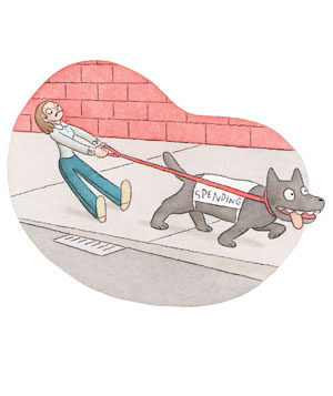 Illustration of dog pulling his owner
