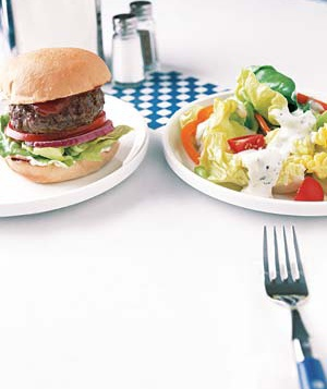 a hamburger and a salad