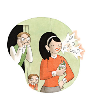 Woman chewing gum illo