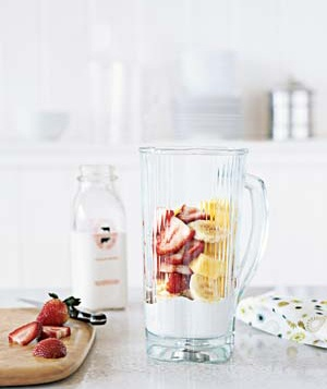 Fruit smoothie in blender pitcher